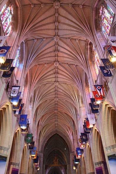 Photo: ceiling of the Washington National Cathedral; nave vaulting facing east
