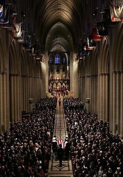 Photo: the 2004 state funeral of President Ronald Reagan held at the Washington National Cathedral