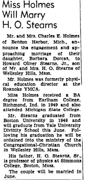 A wedding notice for Barbara Holmes and Howard Stearns Jr., Roanoke Times newspaper article 1 April 1952