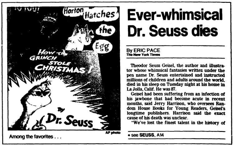 An article about Dr. Seuss, Trenton Evening Times newspaper article 26 September 1991