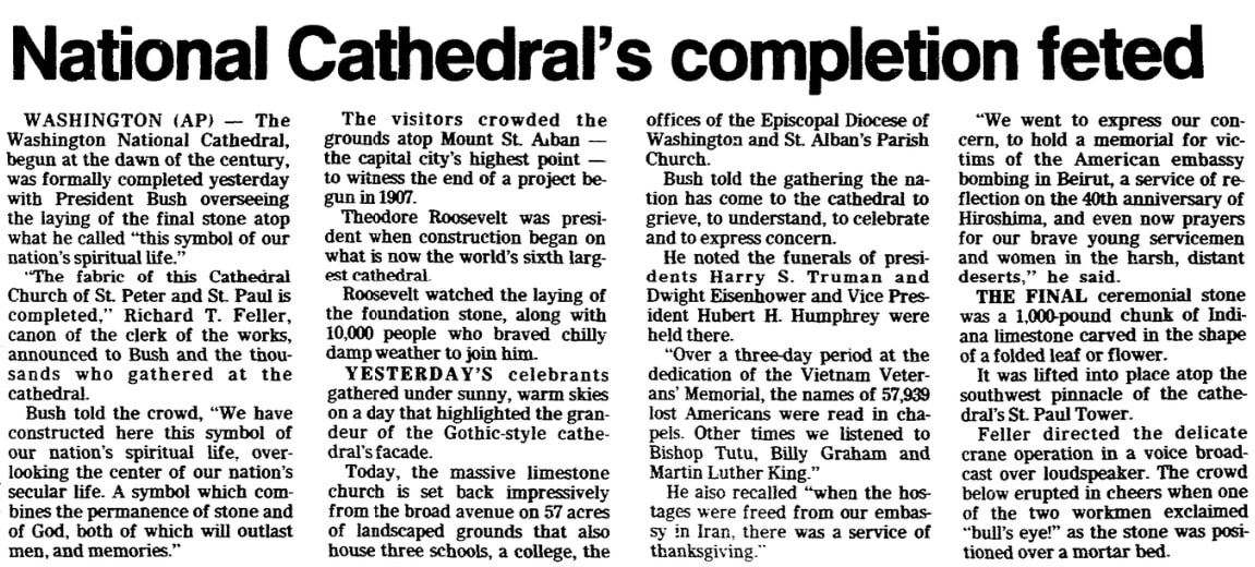 An article about the Washington National Cathedral, Trenton Evening Times newspaper article 30 September 1990