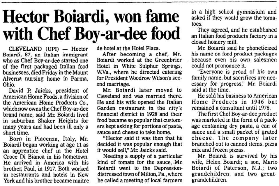 An article about Chef Boyardee, Washington Times newspaper article 24 June 1985