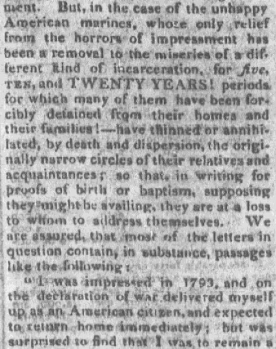 An article about birth certificates, Bee newspaper article 28 June 1814