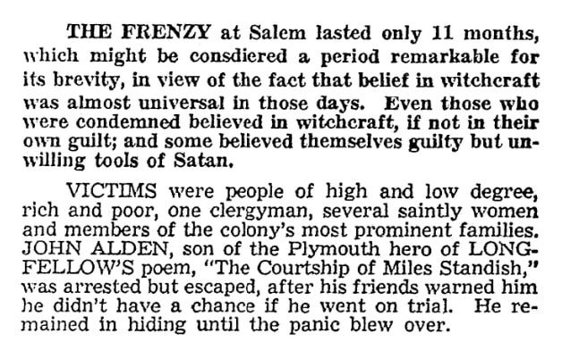 An article about the 1692 Salem Witch Trials, Boston American newspaper article 20 March 1959