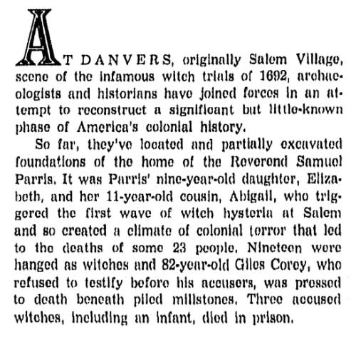An article about the Salem Witch Trials, Boston Record American newspaper article 20 June 1971