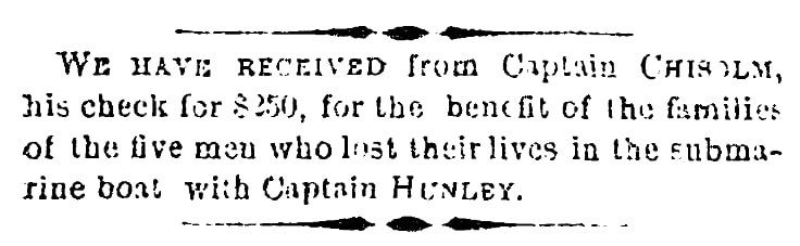 An article about the Confederate submarine H. L. Hunley, Charleston Mercury newspaper article 21 November 1863
