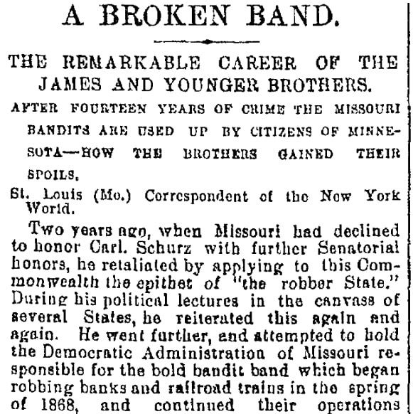 An article about the James-Younger Gang, Cincinnati Daily Gazette newspaper article 5 October 1876