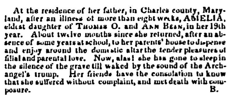 An obituary for Amelia Bean, Daily National Intelligencer newspaper article 22 September 1840