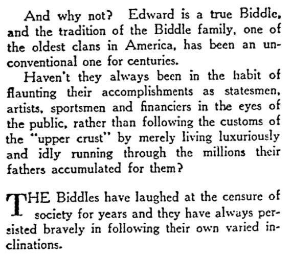 An article about the Biddles, Evansville Press newspaper article 7 February 1932