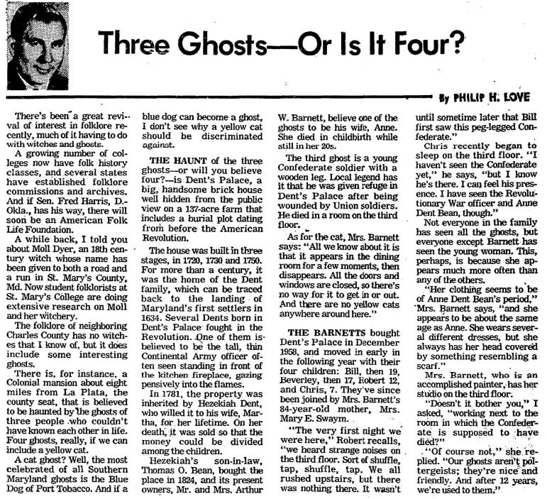 "An article about the ghosts of ""Dent's Palace,"" Evening Star newspaper article 27 December 1971"