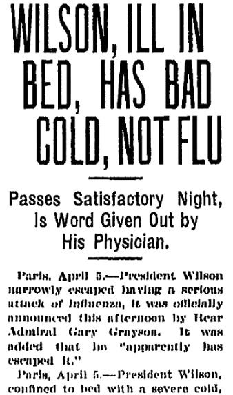An article about President Woodrow Wilson and the Spanish Flu, Grand Rapids Press newspaper article 5 April 1919