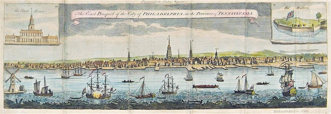 "Illustration: ""The East Prospect of the City of Philadelphia, in the Province of Pennsylvania"" (original drawing, 1754), by Nicholas Scull and George Heap, issued October 1761 by London Magazine"