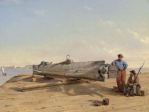 "Illustration: ""Submarine Torpedo Boat H.L. Hunley, Dec. 6, 1863"" by Conrad Wise Chapman. Credit: American Civil War Museum – Chapman Paintings Portfolio; Wikimedia Commons."