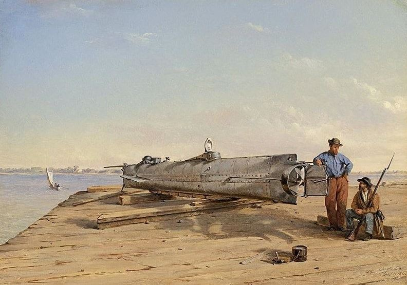 "Illustration: ""Submarine Torpedo Boat H.L. Hunley, Dec. 6, 1863"" by Conrad Wise Chapman"