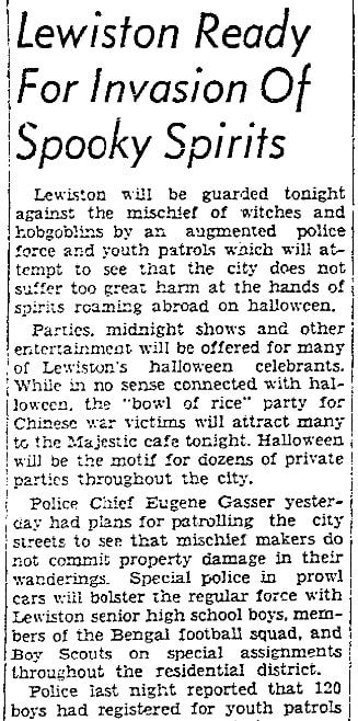 An article about Halloween, Lewiston Tribune newspaper article 31 October 1939