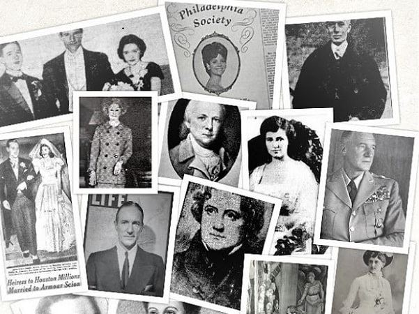 """Montage: Biddle family members from images in """"Tony Biddle of Philadelphia."""" Credit: Melissa Davenport Berry."""