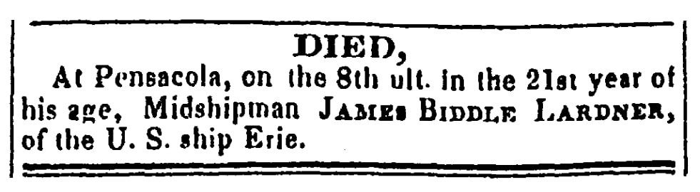 An obituary for James Lardner, National Gazette and Literary Register newspaper article 10 April 1829