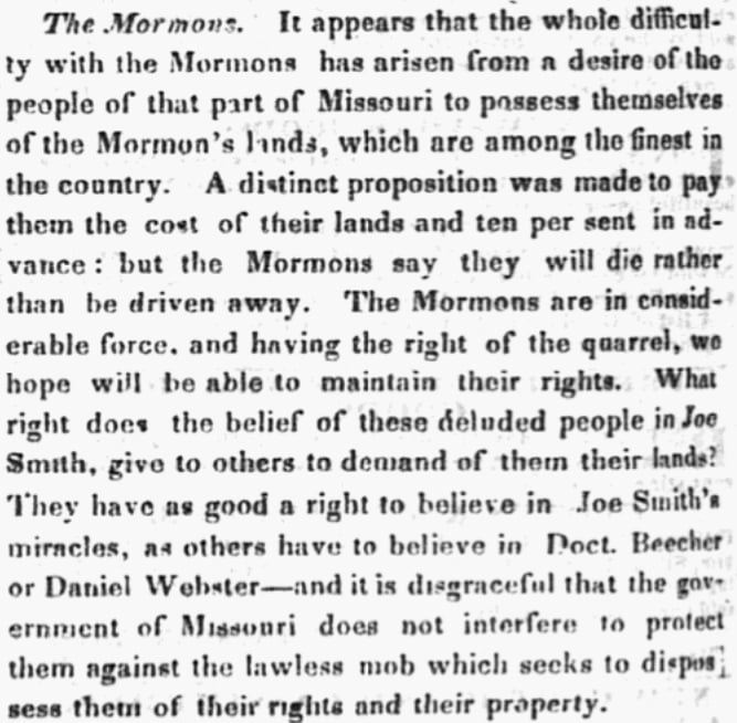 An article about the Mormon War of 1838, New Hampshire Patriot and State Gazette newspaper article 5 November 1838