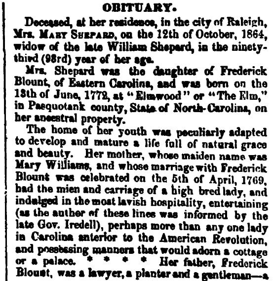 An obituary for Mary Shepard, North-Carolina Standard newspaper article 26 October 1864