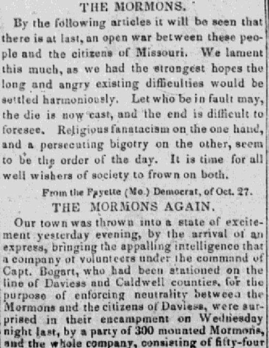 An article about the Mormon War of 1838, Ohio Statesman newspaper article 13 November 1838