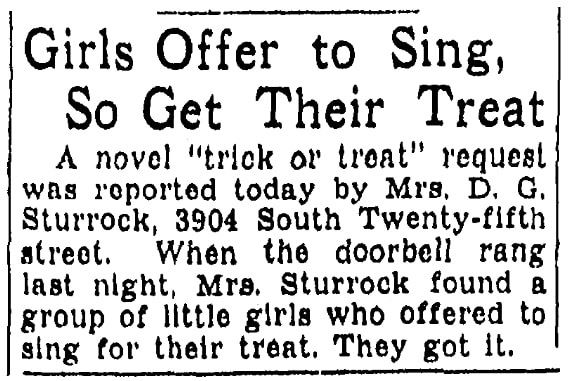 An article about Halloween, Omaha World-Herald newspaper article 26 October 1939