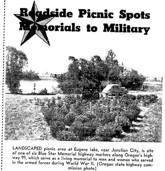 An article about Blue Star Memorial Highways, Oregonian newspaper article 28 June 1953