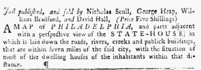 An article about Nicholas Scull, Pennsylvania Gazette newspaper article 2 July 1752