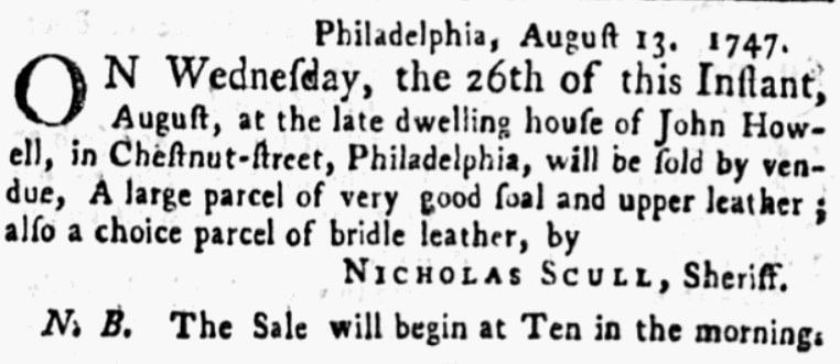 An article about Nicholas Scull, Pennsylvania Gazette newspaper article 13 August 1747