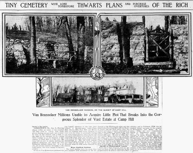 An article about the Scull family cemetery, Philadelphia Inquirer newspaper article 4 January 1904