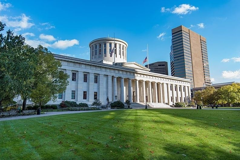 Photo: the Ohio Statehouse, home to the Ohio General Assembly, in Columbus, Ohio