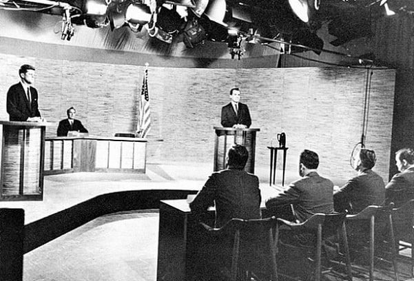Photo: second of the four Kennedy and Nixon televised debates, which took place at NBC's WRC-TV studio in Washington, D.C. on 7 October 1960. Credit: United Press International; Wikimedia Commons.