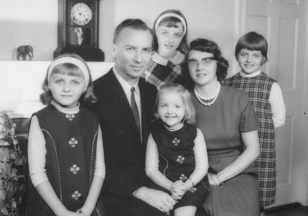 Photo: Rev. Howard Oliver Stearns at home in Danvers, Massachusetts, in 1966 with wife Barbara Dorcas Holmes (Mayflower descendant), Ruthie, and her sisters