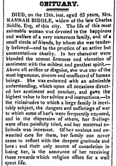 An obituary for Hannah Biddle, Poulson's American Daily Advertiser newspaper article 19 January 1825
