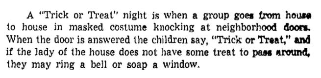 An article about Halloween, Richmond Times Dispatch newspaper article 29 October 1950
