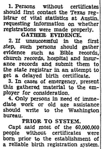 An article about birth certificates, San Antonio Light newspaper article 21 September 1941