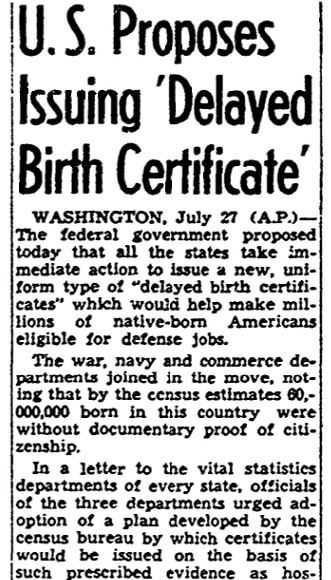 An article about birth certificates, San Diego Union newspaper article 28 July 1941