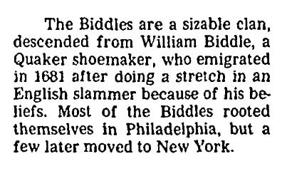 An article about the Biddles, San Francisco Chronicle newspaper article 7 January 1985