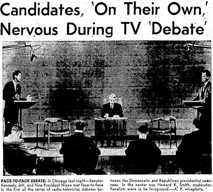 An article about the first presidential debate, between Nixon and Kennedy, Seattle Daily Times newspaper article 27 September 1960