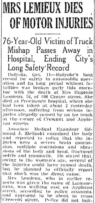 An obituary for Mrs. Lemieux, Springfield Republican newspaper article 12 October 1942