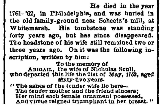 An article about Abigail Scull, Sunday Dispatch newspaper article 16 May 1875