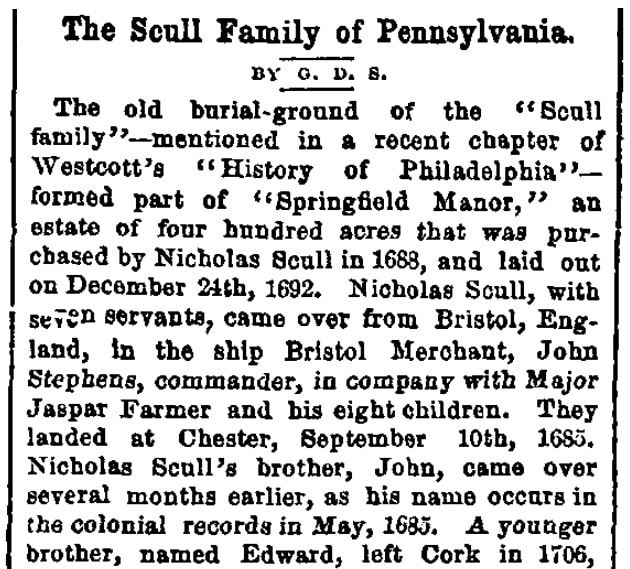 An article about the Scull family, Sunday Dispatch newspaper article 2 August 1874