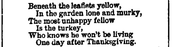An article about Thanksgiving, Abbeville Press and Banner newspaper article 21 November 1883
