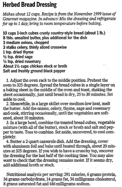 Herbed bread dressing recipe, Advocate newspaper article 19 November 2009