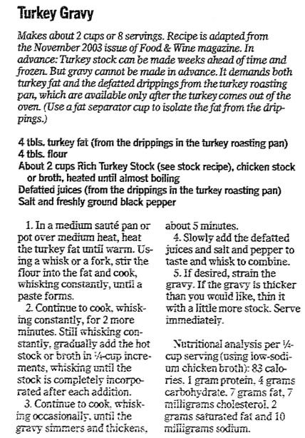 Turkey gravy recipe, Advocate newspaper article 19 November 2009