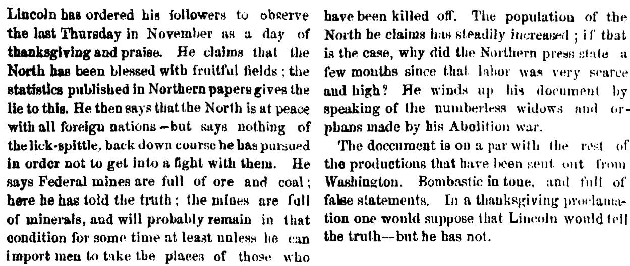 An article about Thanksgiving, Augusta Chronicle newspaper article 15 October 1863