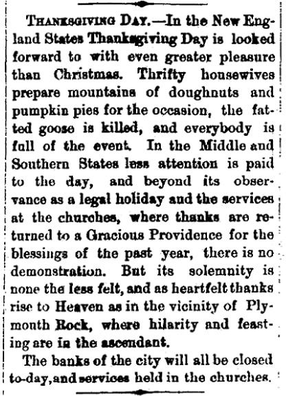 An article about Thanksgiving, Augusta Chronicle newspaper article 7 November 1873