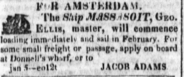 An article about a ship named Massasoit, Baltimore Patriot & Mercantile Advertiser newspaper article 24 January 1820