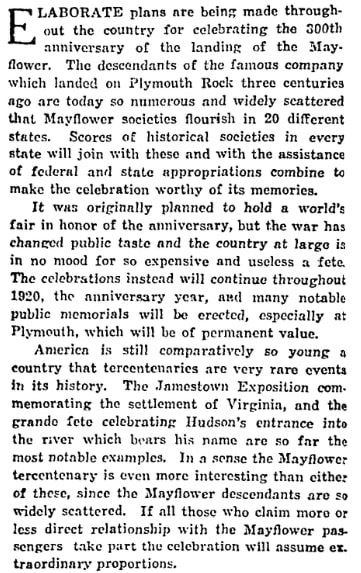 An article about celebrating the 300th anniversary of the arrival of the Mayflower, Beaumont Enterprise newspaper article 1 February 1920