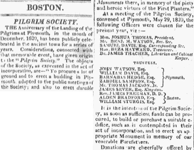 An article about the Pilgrim Society, Boston Commercial Gazette newspaper article 22 June 1820