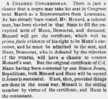 An article about John Menard, Boston Journal newspaper article 30 November 1868